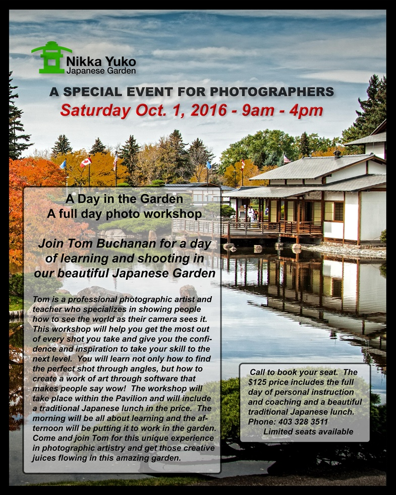 Join Tom Buchanan for a day of learning and shooting in the beautiful Japanese Garden.